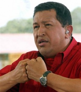 President of the Bolivarian Republic of Venezuela, Hugo Chavez, congratulates Prime Minister Skerrit on his re-election