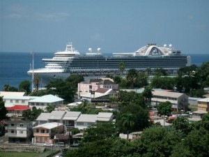 A cruise ship docked in Roseau