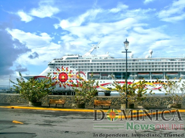 A cruise ship at the port in Roseau