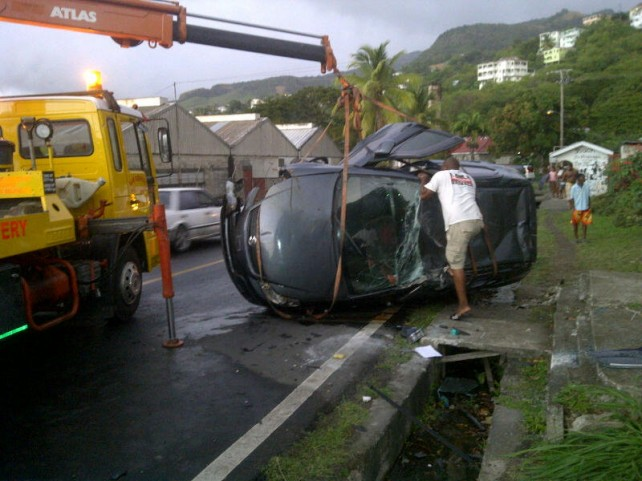 The vehicle being towed away after the accident