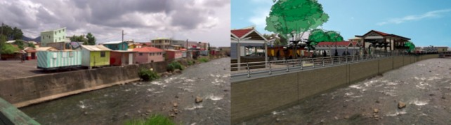 Photo on left depicts a section of the Roseau River presently and photo of right depicts the same area after the Promenade is completed, according to officials