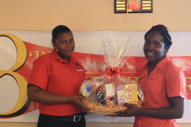 Janice Thomas receives her gift basket