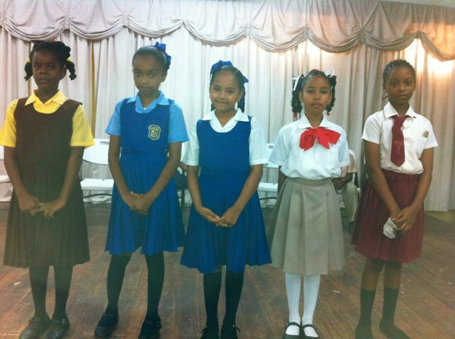 The qualifiers from left: Coulibistrie Primary School, St. Joseph Primary, St. Martin's Primary, Lighthouse Christian Academy and Ebenezer SDA. Photo courtesy of DBS Radio