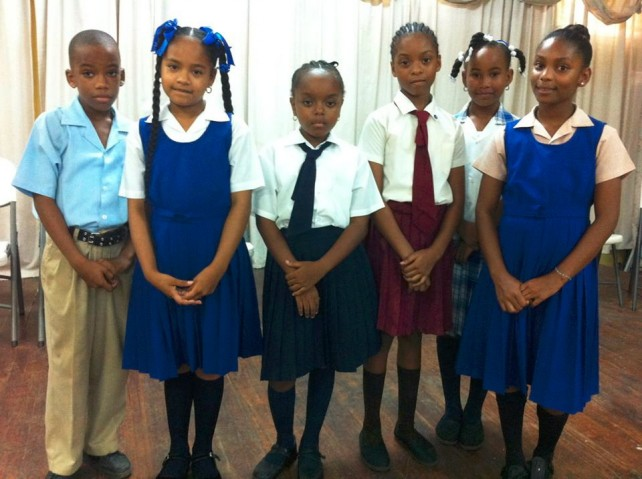 Qualifiers for Round Three left to right:St. Mary's Primary School, St.Martin's Primary, Convent Prep, Ebenzer SDA, St.Lukes Primary School and Petite Savanne Primary School. Photo courtesy of DBS Radio
