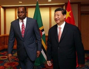 PM Roosevelt Skerrit and Chinese President Xi Jinpin in Port of Spain on Sunday