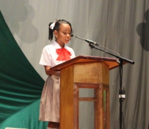 Shanda Francis in action during the finals of the DBS Reading Competition