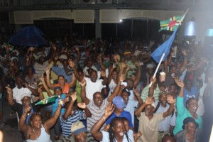 UWP supporters at a public meeting in Roseau recently