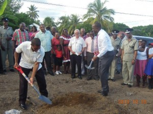 PM Skerrit and MP Saint Jean breaking ground for the police station