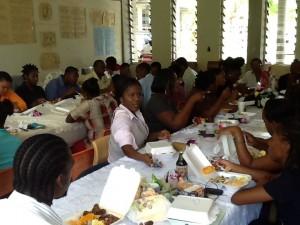 Teachers enjoying a luncheon prepared by students