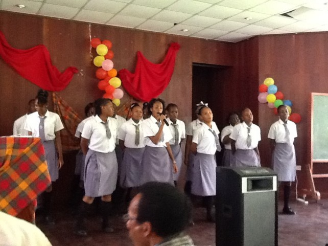Students performing for the teachers