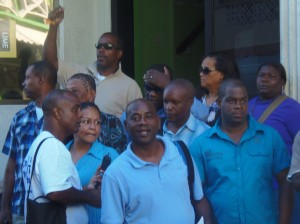 UWP party officials outside their headquarters on the first day of their 25-day campaign