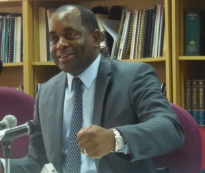 PM Skerrit makes a point during a press conference on Friday
