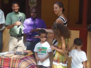 Jeff Bellot & family with school principal, Ericson Degallerie