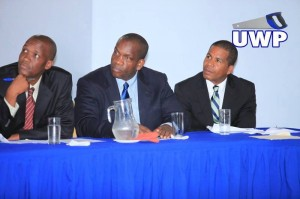 From left to right, the team of Thomson Fontaine, Lennox Linton and Joshua Francis which will represent the UWP on its North American trip.