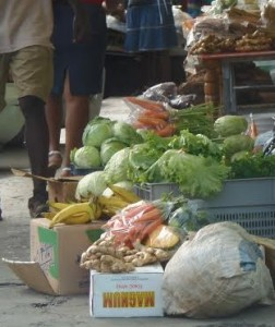 Vegetables for sale on the streets of Roseau