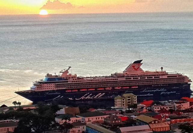 A cruise ship in Roseau