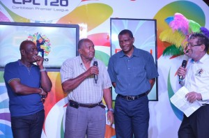 Sir Andy Roberts (second from l). Sir Vivian Richards is to his right