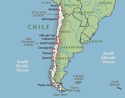 Location of Chile on the South American map