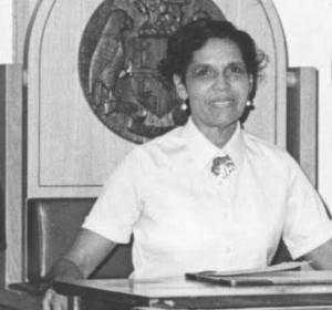 The late Marie Davis-Pierre as house speaker. Photo courtesy of Dr. Lennox Honychurch
