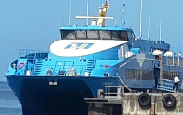 A ferry at the terminal in Roseau