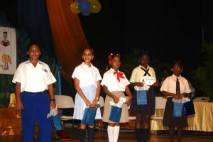 Jean Jacques (left) with the other winners of the reading competition