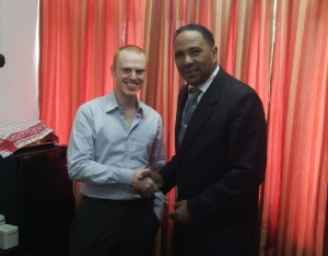 Darroux is pictured here with one of the organizers of the project, Ira Miller, from Coinapult. Photo by Coinapult