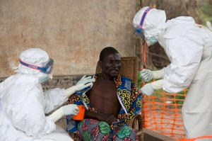 An Ebola stricken patient being treated in West Africa