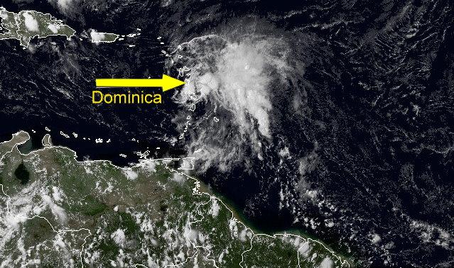 Satellite image of 2:00 pm location of Bertha