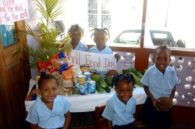 The students with some of the food collected