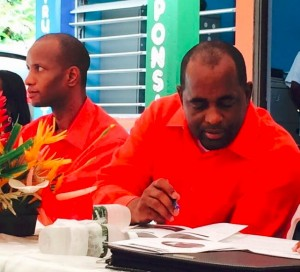 PM Skerrit at the launch of the project in Belles. In the background is Kelvar Darroux, MP for the area. Photo by Press Attache to the PM