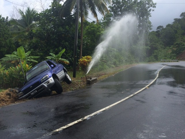 This vehicle went off the road at Pagua earlier today