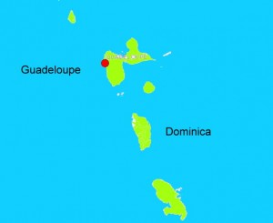 Red dot indicates epicenter of quake