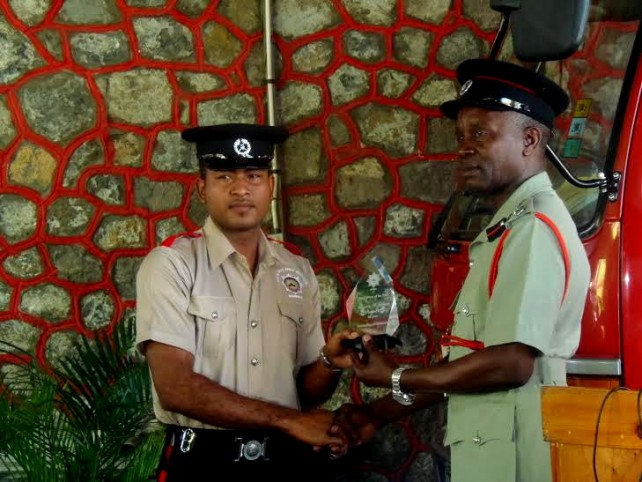 Fire Officer of the Year, Donaldson Frederick, receives his award