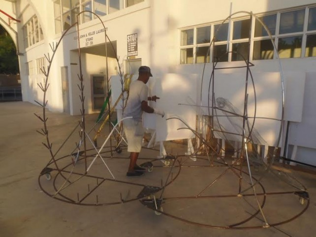 Douglas at work on one of his creations