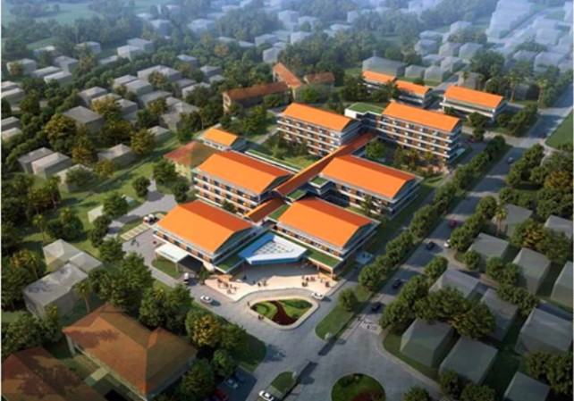An artist's rendition by a Chinese company of the new hospital