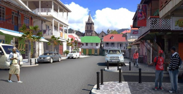An image circulated by the gov't depicting what a section of Roseau will look like after the project