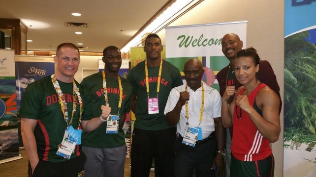 Dominica's PanAm team from left:  coach James Cawood, David Registe, Dillon Simon, McNeil Jules,Chef de Mission Woodrow Lawrence and Valerian Spicer.
