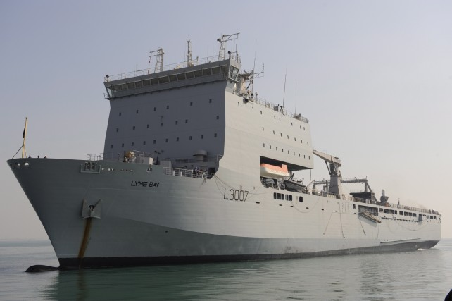 The British ship RFA Lyme Bay is on its way to Dominica