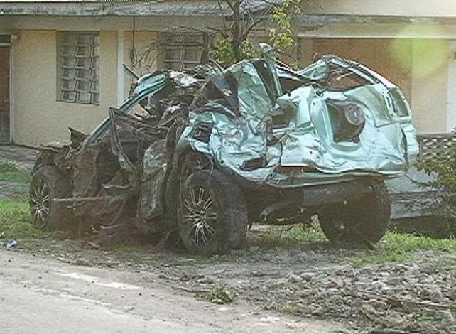 A vehicle mangled by Erika