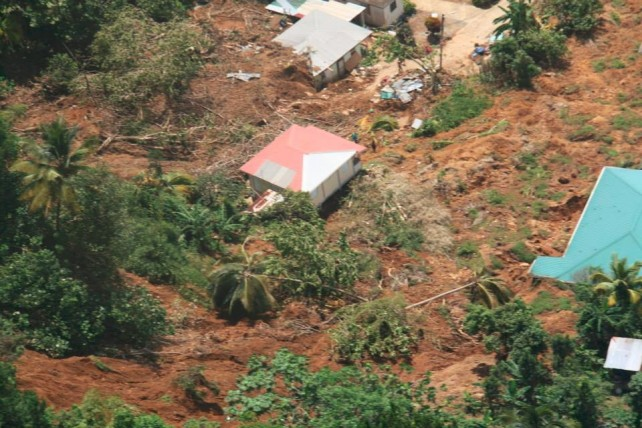 Houses in Petite Savanne after the passage of Erika. Photo by GIS