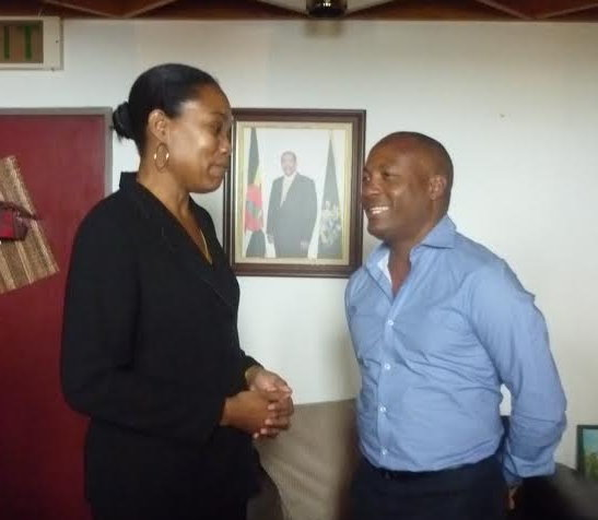 Lara shares a word with Foreign Minister Francine Baron