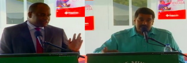 Both Skerrit (left) and Maduro addressed a ceremony on Wednesday