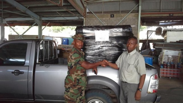 Some of the water was donated to the police force