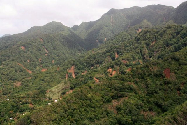 Scars of Erika on the south eastern section of Dominica. Photo by GIS