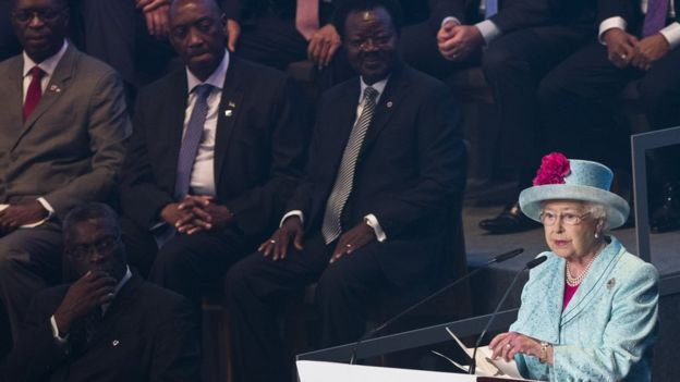 The Queen addressing Commonwealth Heads. Photo credit: AP