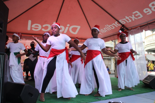 A group performing at at the Digicel Christmas Promotions Launch