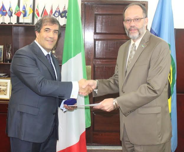 CARICOM Secretary-General Ambassador Irwin LaRocque (right) receives Letter of Accreditation from  Italy's Ambassador to CARICOM His Excellency Silvio Mignano