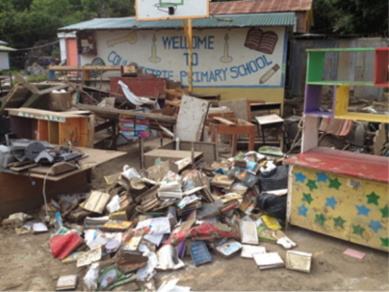 The Coulibistrie Primary School was severely affected by TS Erika