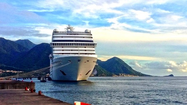 A cruise ship docked in Dominica