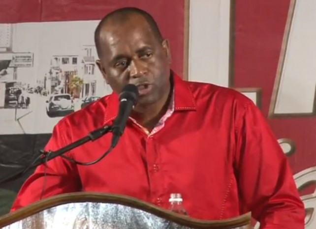 PM Skerrit addressing the meting on Tuesday night